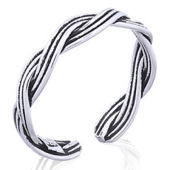 Two Strand Closed Weave Braided 925 Silver Toe Ring