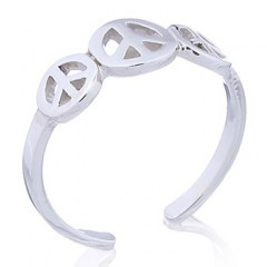 Casted Sterling Silver Triple Peace Symbol Toe Ring
