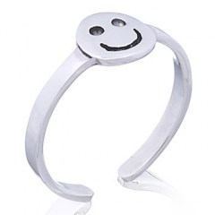 Happy Face Sterling Silver Toe Ring Antiqued Accents