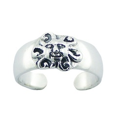 925 Sterling Silver Sun Toe Ring Detailed Ornamental Work