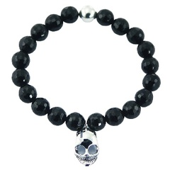 Faceted Black Agate Stretch Bracelet with Sterling Silver Skull