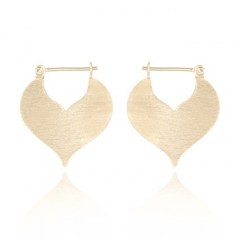 Heart Brushed Finished Yellow Gold 925 Hoop Earrings