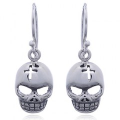 925 Silver Skull Mask Dangle Earrings