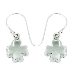 Brushed Sterling Silver Four-leaf Clover Dangle Earrings