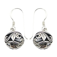 Sterling Silver Earrings Ajoure Fluted Leafs Spheres