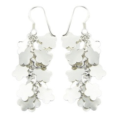 Cluster Of Silver Flower Silhouettes Dangle Earrings