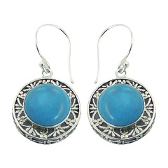Handmade Round Howlite Turquoise Ajoure Silver Earrings