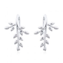 Puffy Leaves 925 Drop Earrings With Silver Plated