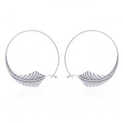 Angle Leaf In Round Drop Silver Earrings