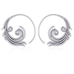 925 Silver Spiral Earrings Abstract Flower
