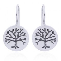 Stamped Tree of Life Silver Disc Drop Earrings