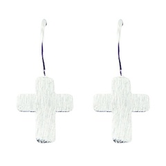Brushed Silver Plated Sterling Silver Cross Drop Earrings