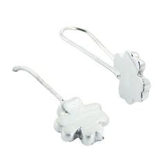 Brushed Sterling Silver Four-leaf Clover Drop Earrings