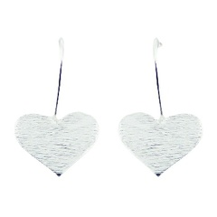 Brushed Polished Flat Sterling Silver Heart Drop Earrings