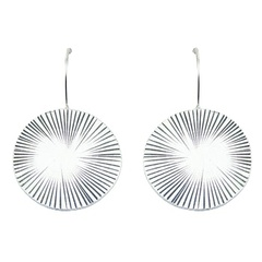 Fashionable Antiqued Sterling Silver Discs Drop Earrings