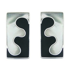 Black Shell Mother Of Pearl 925 Silver Earrings Puzzle Style