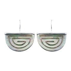 Hand Carved Rainbow Shell Chic 925 Silver Earrings Semi-Circles