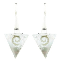 Festive Carved Twirls On Mother Of Pearl Drops Silver Sticks