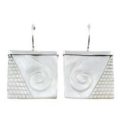 Hand Carved Mother Of Pearl Twirl Square Earring