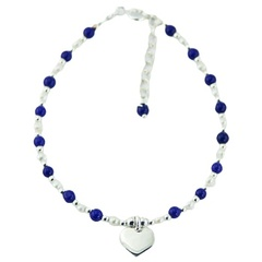 Gemstone and Pearl Bead Bracelet with Silver Heart Charm