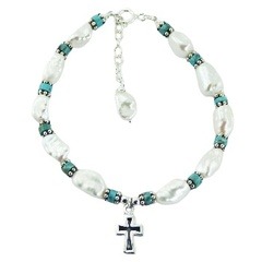 Freshwater Pearl Bracelet Turquoise Silver Beads with Antiqued Cross