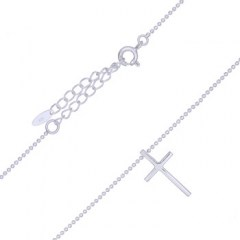 Latin Cross Sterling Plain Silver Bead Chain Necklace