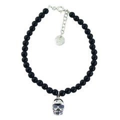 Round Gemstone Bead Bracelet with Silver Skull Charm