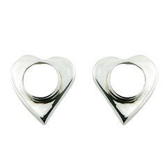 Sterling Silver Heart Stud Earrings Round Mother of Pearl Inlay