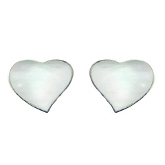 Sterling Silver Mother of Pearl Heart Stud Earrings