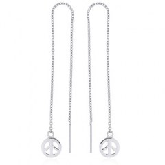 Peace Symbol Sterling Silver Threader Earrings