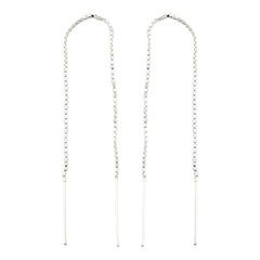 Generously Long Threader Box Chain Sterling Silver Earrings