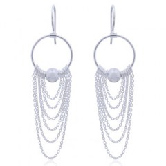 Chains Threading Silver Chandelier Earrings