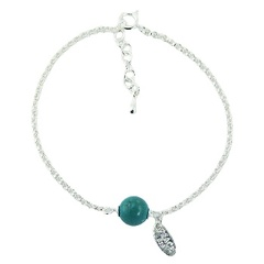 925 Silver Chain Bracelet with Round Turquoise Gemstone