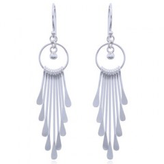 Long Sterling Silver Chandelier Earrings Contemporary Design