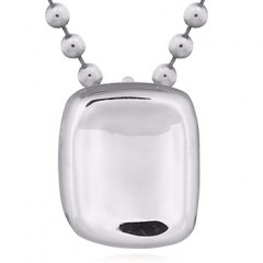 Cupped Rectangular Silver 925 Pendant