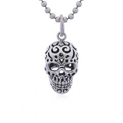 Perforated Mexican Sugar Skull Silver Pendant