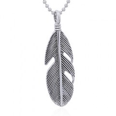 Antiqued Silver Feather Vintage Pendant