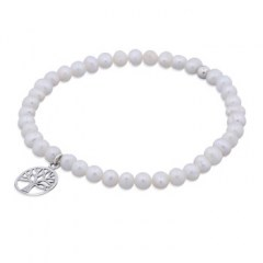4mm Freshwater Pearl Stretch Bracelet with Tree of Life Charm