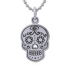 Larger Sugar Skull Silver Pendant Perforated Nose
