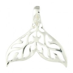 Whale Tail Ajoure Sterling Silver Pendant