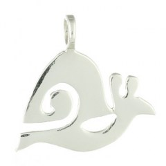 Flat Polished Sterling Silver Snail Pendant
