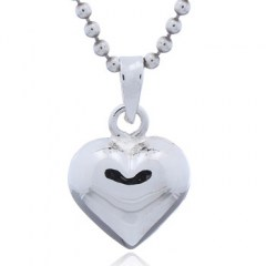 Shiny Puffed Heart Charm Small 925 Sterling Silver Pendant