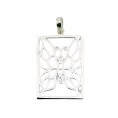 Rectangular Framed Butterfly Airy Sterling Silver Pendant