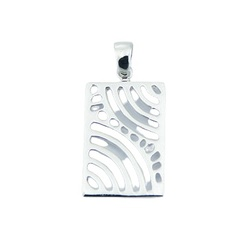Sterling Silver Pendant Rectangle Curvy Lines And Droplets