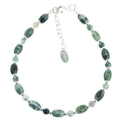 Adjustable Grass Agate and Sterling Silver Bead Bracelet