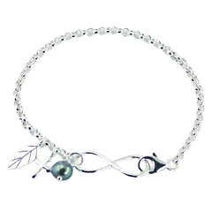 Silver Infinity Bracelet Flat Rolo Chain with Charms