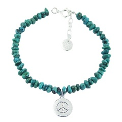 Turquoise Bead Bracelet with Sterling Silver Peace Charm