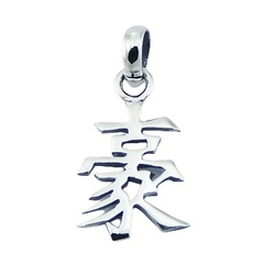 "Silver Pendant Feng Shui Chinese Character ""Intelligence"""