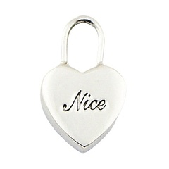 """I love Nice"" Engraved Sterling Silver Heart Pendant"