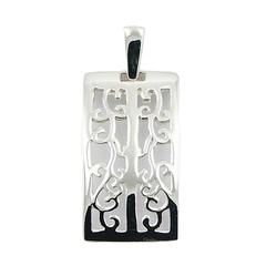 Rectangular Ajoure Sterling Silver Sophisticated Pendant